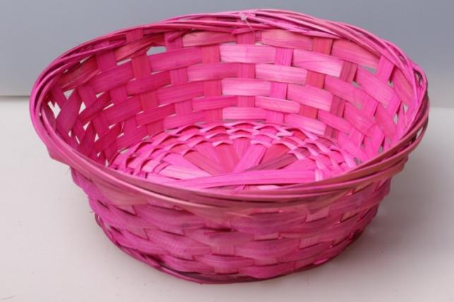 Плошка плетеная (бамбук) розовый d=23, h=8см 8499
