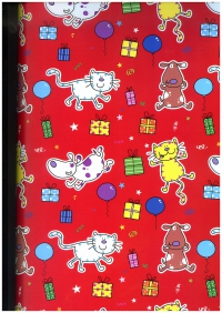 Подарочная бумага ГЛЯНЦ - Мяу-гав на красном (код 100/811)