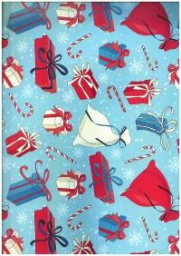 Подарочная бумага - Глянец 100/216 - Новый Год - Мешки с подарками 0,7х1м (10 листов)