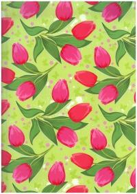 Подарочная Бумага - ГЛЯНЕЦ 100/327 Тюльпаны Для любимой 0,7х1м (10 листов)
