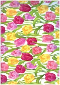 Подарочная Бумага - ГЛЯНЕЦ 100/329 Тюльпаны Вдохновение 0,7х1м (10 листов)
