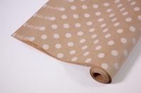 Подарочная Бумага  КРАФТ 203/601 Горох белый 0,7*1м в лист. (10 лист.) 08802