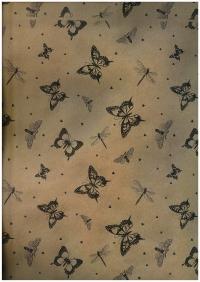 Подарочная Бумага Крафт Бабочки чёрные (60гр х700мм, рулон 10м) Беларусь