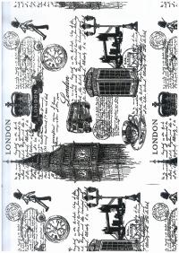 Подарочная Бумага - КРАФТ  Лондон 0,7х10м в листах - Черный цвет на белом фоне М