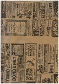 Подарочная Бумага - КРАФТ  Винтажная газета черная  0,7х1м в листах - На коричневом фоне (10 листов) М