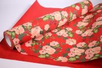Подарочная Бумага рифленая в рулоне - Цветы на красном 50см*10м 131210-50/10,,181434