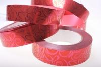 Подарочная Декоративная Лента металлизированная - 3х50y металл с рисунком - Красная