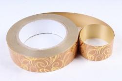 Подарочная Декоративная Лента металлизированная - 3х50y металл с рисунком - Золото