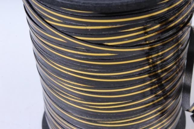 Подарочная Декоративная Лента с золотой полосой - 0.5х250у Чёрная А0535