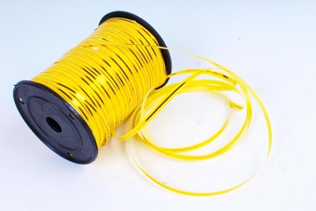 Подарочная Декоративная Лента с золотой полосой - 0.5х250у Жёлтая А0541