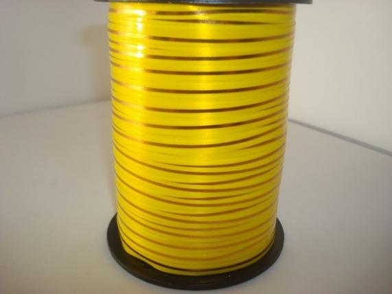 0,5 см х 250у подарочная декоративная лента с золотой полосой - 0.5х250у жёлтая а0541 A0541