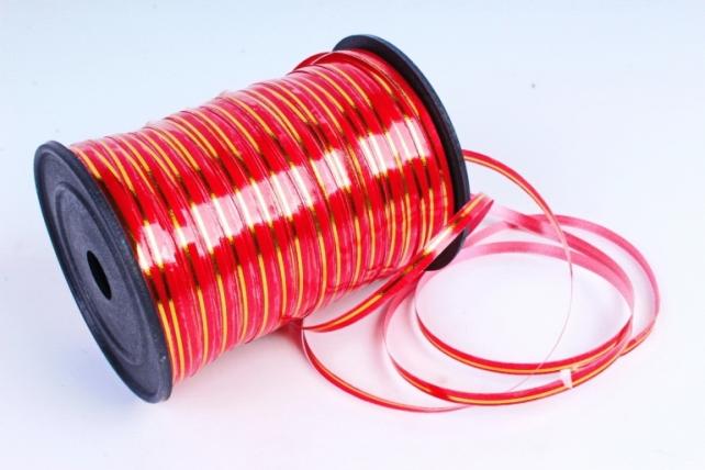 Подарочная Декоративная Лента с золотой полосой - 0.5х250у Красная А0537