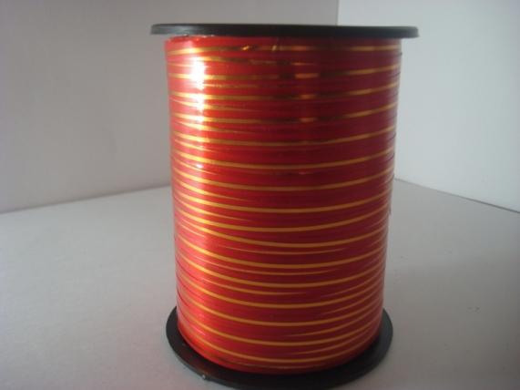 0,5 см х 250у подарочная декоративная лента с золотой полосой - 0.5х250у красная а0537 A0537