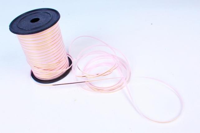 Подарочная Декоративная Лента с золотой полосой - 0.5х250у Розовая A0547