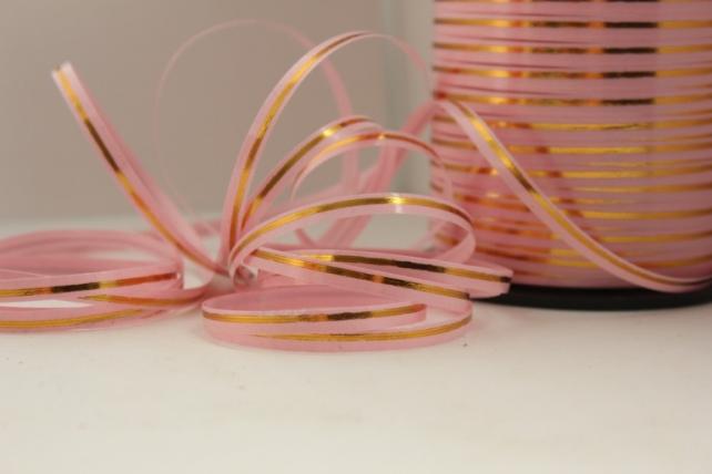 0,5 см х 250у подарочная декоративная лента с золотой полосой - 0.5х250у розовая a0547 A0547