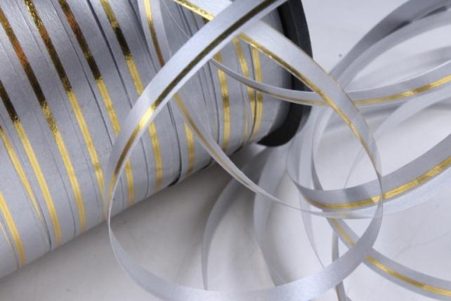Подарочная Декоративная Лента с золотой полосой - 0.5х250у Серая А0534
