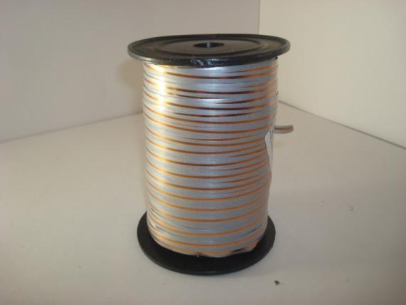 0,5 см х 250у подарочная декоративная лента с золотой полосой - 0.5х250у серая а0534 A0534