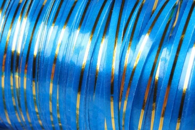 Подарочная Декоративная Лента с золотой полосой - 0.5х250у Синяя А0536