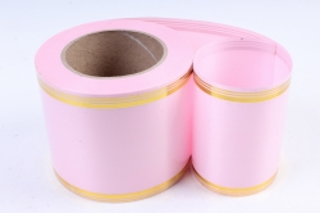 Подарочная Декоративная Лента с золотой полосой - 10х50у Розовая A1009