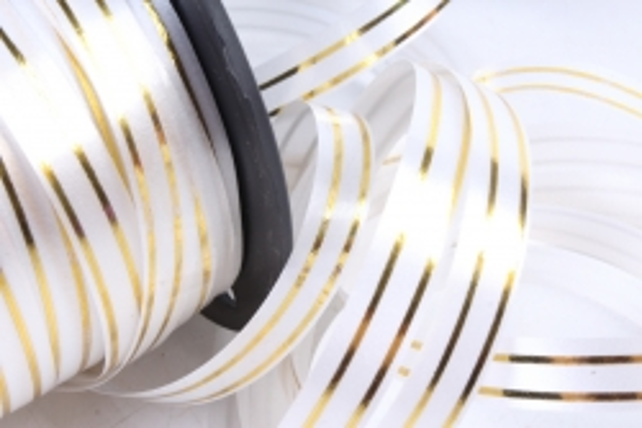 Подарочная Декоративная Лента с золотой полосой - 1х100у Белая A150