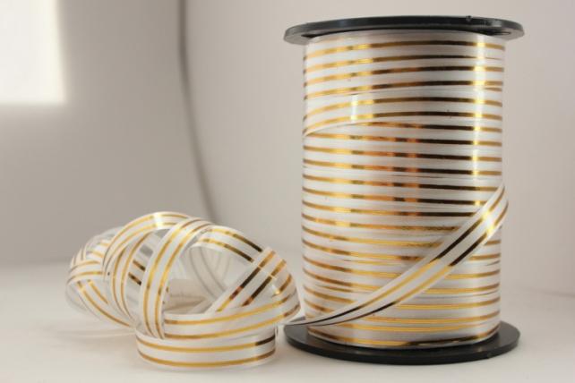 1,0 см х 100у подарочная декоративная лента с золотой полосой - 1х100у белая a150 A150