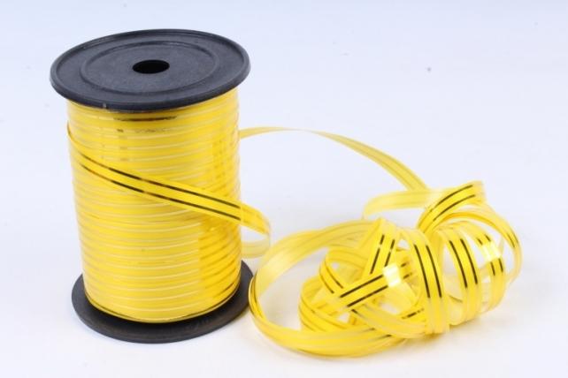 Подарочная Декоративная Лента с золотой полосой - 1х100у Желтая А141