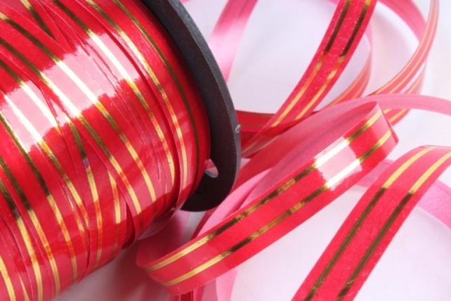 Подарочная Декоративная Лента с золотой полосой - 1х100у Красная A137