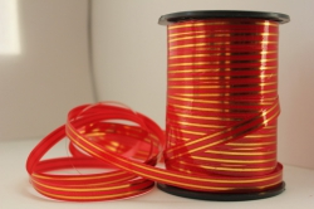 1,0 см х 100у подарочная декоративная лента с золотой полосой - 1х100у красная a137 A137