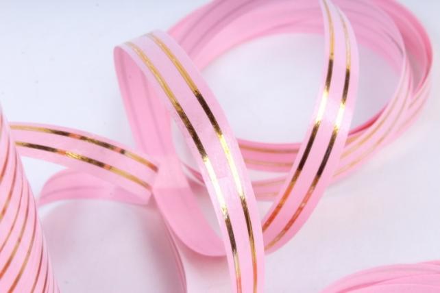 Подарочная Декоративная Лента с золотой полосой - 1х100у Розовая А147