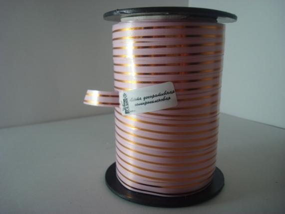 1,0 см х 100у подарочная декоративная лента с золотой полосой - 1х100у розовая а147 A147
