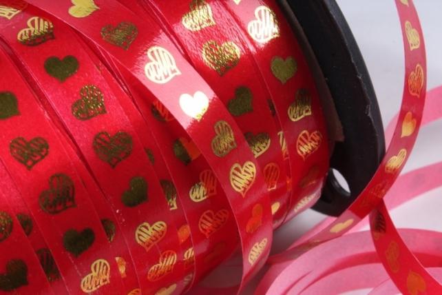 """Подарочная Декоративная Лента с золотой полосой - 1х100у """"Сердца"""" Красная А123"""