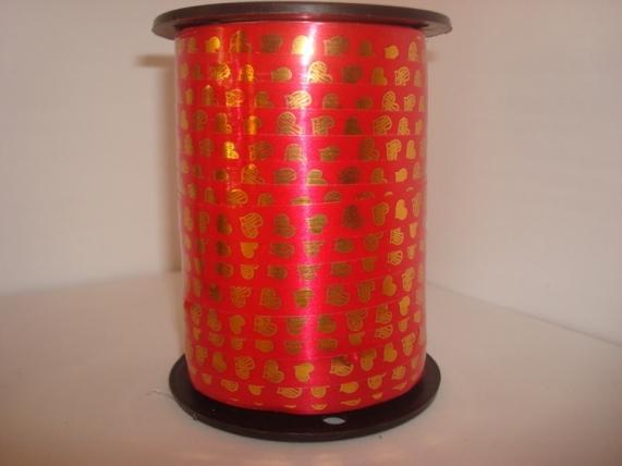 """всё для 8 марта!!! подарочная декоративная лента с золотой полосой - 1х100у """"сердца"""" красная а123 A123"""