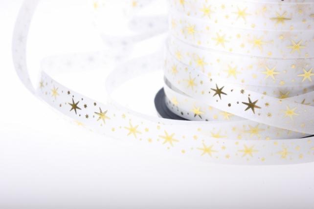 """1,0 см х 100у """"звёздочки"""" подарочная декоративная лента с золотой полосой (1см на 100у) звёздочки - белая a101 A101"""
