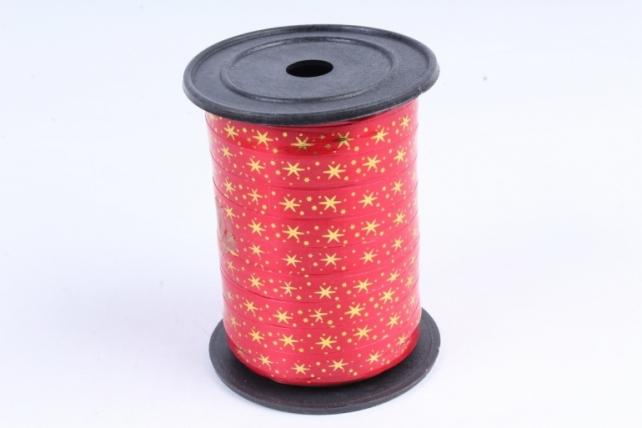 Подарочная Декоративная Лента с золотой полосой (1см на 100у) Звёздочки - Красная A106