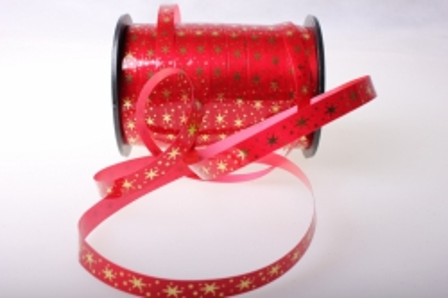 """1,0 см х 100у """"звёздочки"""" подарочная декоративная лента с золотой полосой (1см на 100у) звёздочки - красная a106 A106"""
