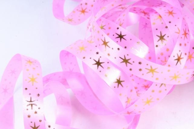 Подарочная Декоративная Лента с золотой полосой (1см на 100у) Звёздочки - Ярко-розовый A115
