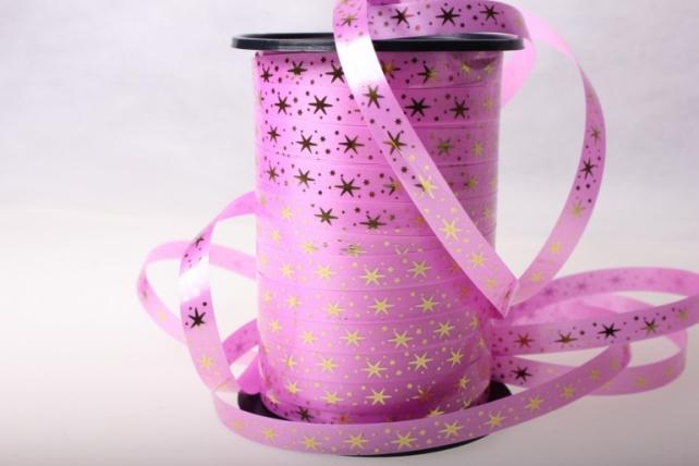 """1,0 см х 100у """"звёздочки"""" подарочная декоративная лента с золотой полосой (1см на 100у) звёздочки - ярко-розовый a115 A115"""