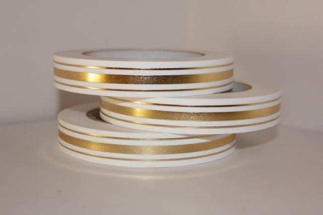 2,0 см х 50у классика подарочная декоративная лента с золотой полосой - 2х50у классика белая l201 L201