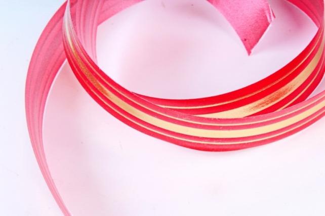 Подарочная Декоративная Лента с золотой полосой - 2х50у классика Красная L206