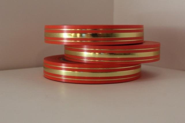 2,0 см х 50у классика подарочная декоративная лента с золотой полосой - 2х50у классика красная l206 L206