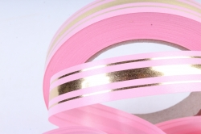 Подарочная Декоративная Лента с золотой полосой - 2х50у классика Розовая L202
