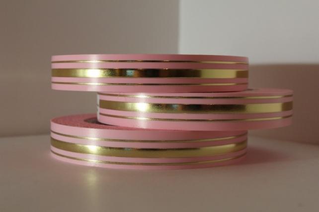 2,0 см х 50у классика подарочная декоративная лента с золотой полосой - 2х50у классика розовая l202 L202