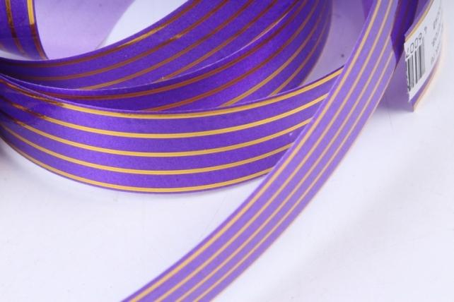 Подарочная Декоративная Лента с золотой полосой - 2х50у Многополосная Фиолетовая A274