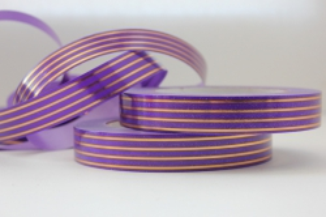 2,0 см х 50у многополосн. подарочная декоративная лента с золотой полосой - 2х50у многополосная фиолетовая a274 A274