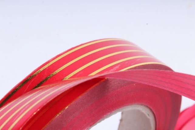 Подарочная Декоративная Лента с золотой полосой - 2х50у Многополосная Красная А278