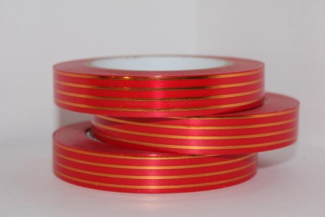 2,0 см х 50у многополосн. подарочная декоративная лента с золотой полосой - 2х50у многополосная красная а278 A278
