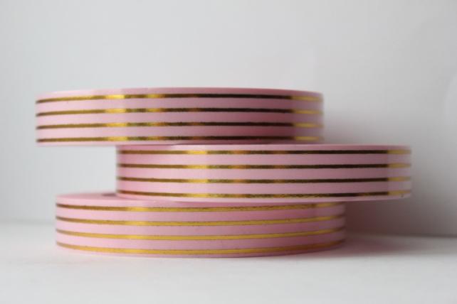 Подарочная Декоративная Лента с золотой полосой - 2х50у Многополосная Розовая