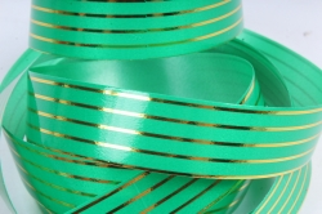 Подарочная Декоративная Лента с золотой полосой - 2х50у Многополосная Зелёная А265