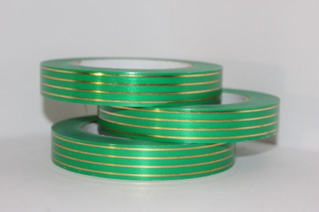 2,0 см х 50у многополосн. подарочная декоративная лента с золотой полосой - 2х50у многополосная зелёная а265 A265