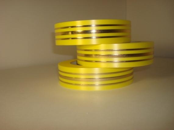 Подарочная Декоративная Лента с золотой полосой - 3х50у Жёлтая Л303